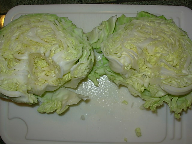 Remove stems from cabbage